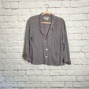 FLAX   Plaid Linen Blazer Jacket